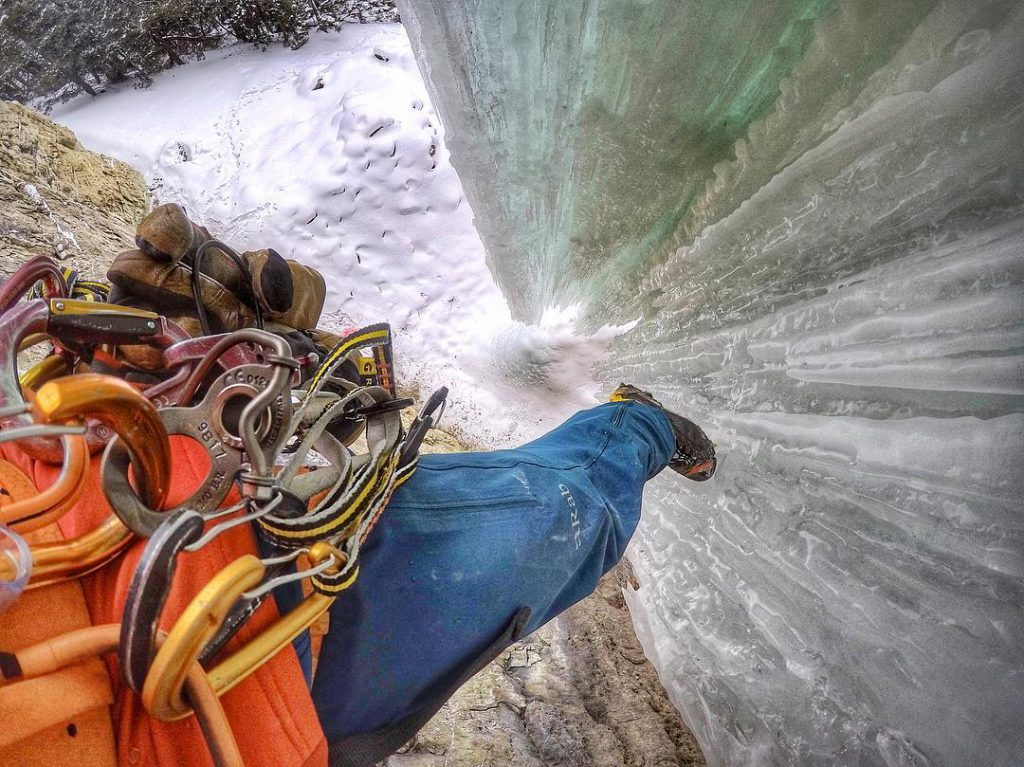 aaron mulkey coldfear rab ascendor pants ice climbing looking down