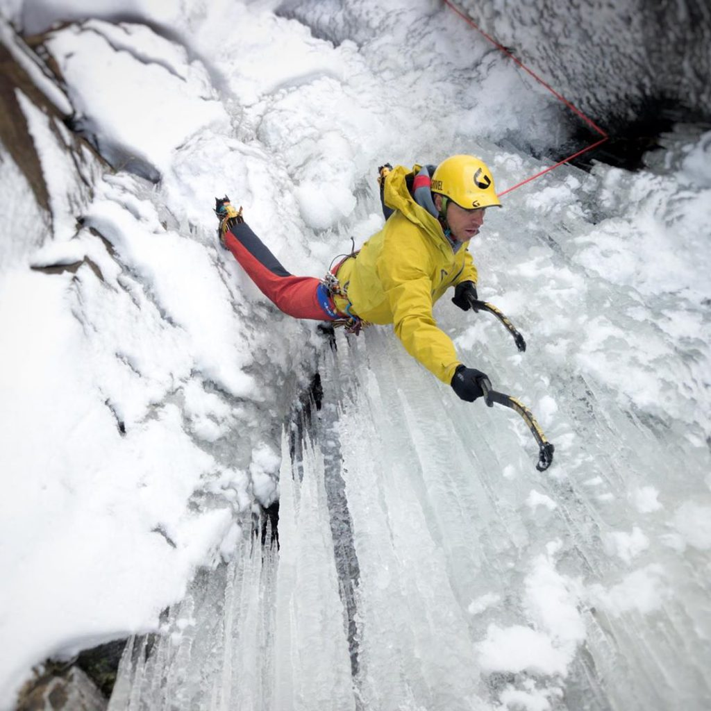 aaron mulkey coldfear grivel dark machine ice tool during ice ascent