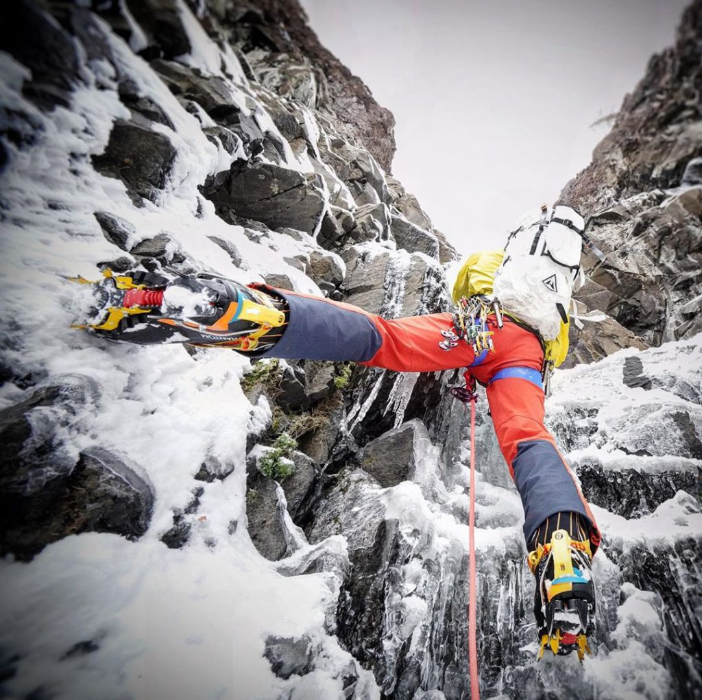 aaronm ulkey coldfear prism pack during ice climbing