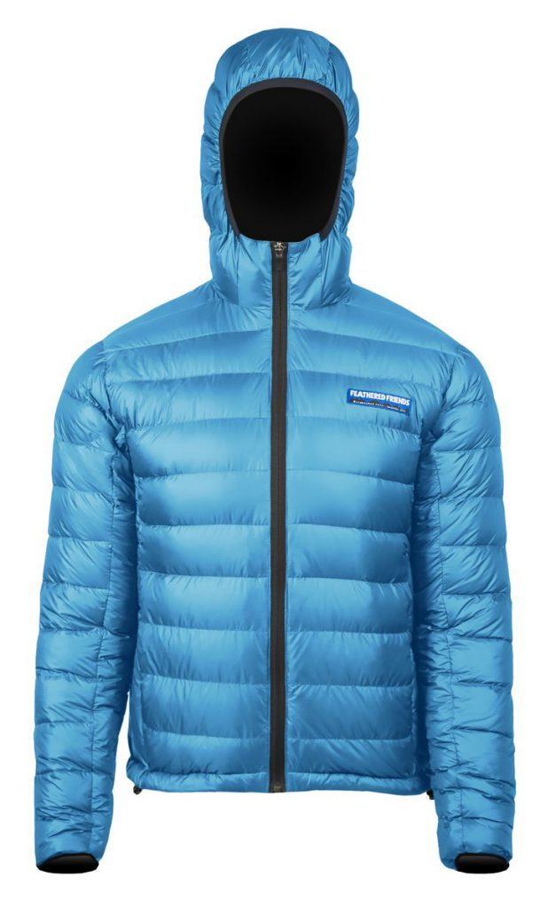 Feathered Friends - Eos men's 900 fill down jacket - light blue color - front view - outdooreer