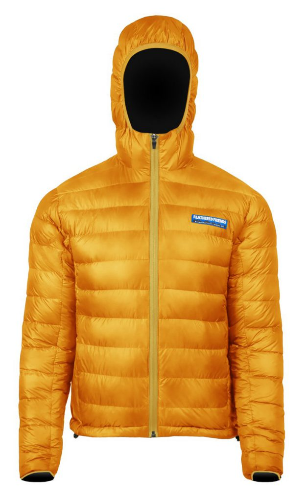 Feathered Friends - Eos men's 900 fill down jacket - yellow color - front view - outdooreer