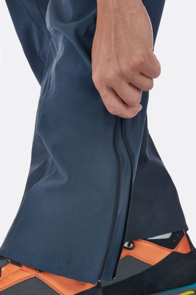 rab ascendor pants blue color side legs