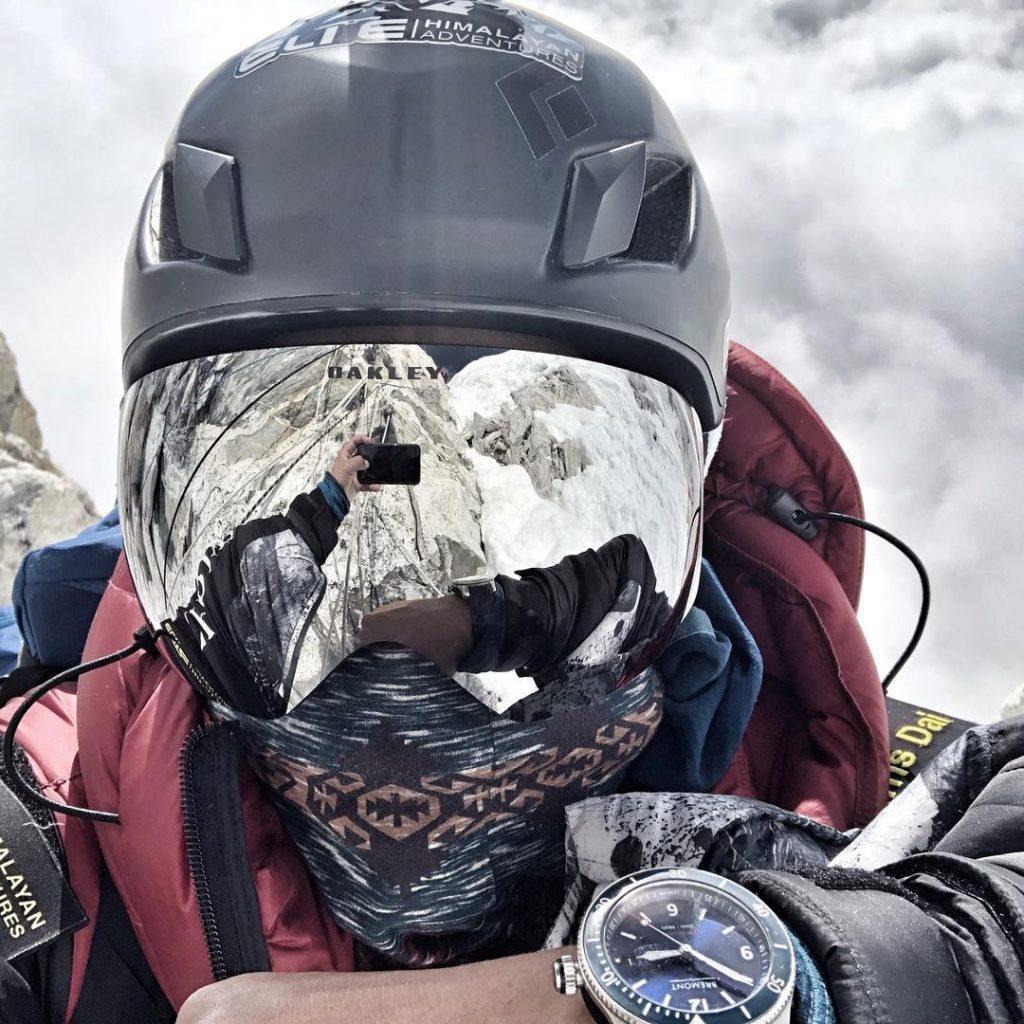 Grey helmet for climbing