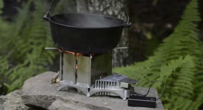 vital grill with black pot on top