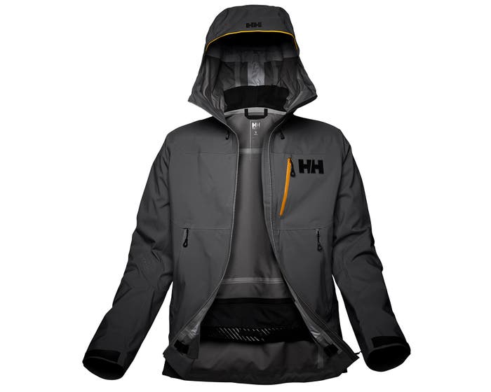 helly hansen - ODIN MOUNTAIN 3L SHELL JACKET - grey front - open