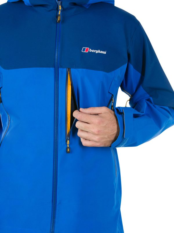 berghaus EXTREM 5000 WATERPROOF JACKET front blue with pocket open