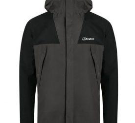 berghaus ATHUNDER waterproof jacket for mountain - dark grey- front